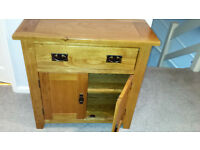 LIGHT OAK SMALL CUPBOARD WITH SHELF & DRAWER