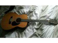 Acoustic guitar with tuner and stand