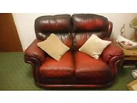 CHESTERFIELD style LEATHER sofa suite oxblood 2+1+1