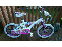 "HUFFY STYLE 16"" INCH GIRLS BIKE - WHITE PINK AND PURPLE"
