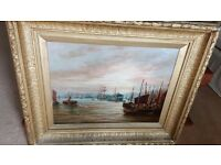 large antique oil painting of North shields fishquay in original antique gilt frame