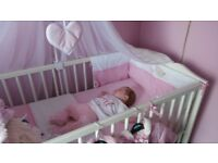 cot, canopy and bedding
