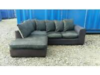 Black+Charcoal Corner Sofa *Excellent Clean Condition*