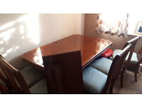 Large Brown Polished Dinning Table & Chairs