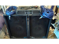 2x Large Speakers & Amp (300w per speaker) WITH LEADS