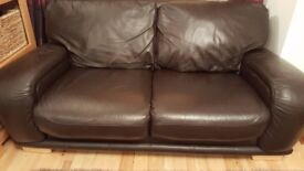 Leather Sofa 2-seater in dark brown