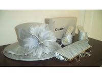 wedding accessories , shoes , hat , and bag all silver and worn only the one time ,like new!