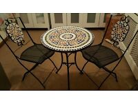 MARKS AND SPENCERS BEAUTIFUL MOSAIC BISTRO TABLE WROUGHT IRON + 2 CHAIRS NEW BUCKHURST HILL PICK UP