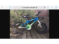 Apollo Outrage 18 inch bike. Unisex. Age 5-10. With removable spokies.
