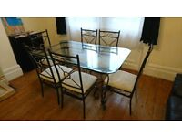 Iron and glass glass dining table + 6 chairs