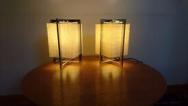 2 VINTAGE MATCHING STUNNING ART DECO STYLED CHROMED HESSIAN DESIGNER TABLE OCCASIONAL BEDSIDE LAMPS