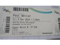 2 x Paul Weller tickets Genting Arena 24th August