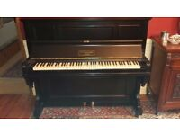 Black upright piano - J & J Hopkinson - 100 years old but fully refurbished