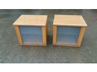 2 bedside table with glass front