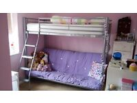 Nearly New Girls Bunk Bed with Futon