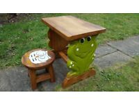 Childrens wooden desk and stool