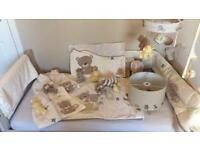 Mothercare Teddy's Toy Box Bedroom bundle inc light shade, musical mobile, sleeping bags