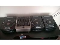 3xNumark NDX500, Numark M4 3 channel mixer and 2 wharfedale pre amp speakers