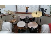 drum kit, mapex snare, pAisTe & Zildjian cymbals, adjustable throne stool, floor mat & music stand