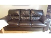 DFS 3 seater dark brown leather sofa Immaculate
