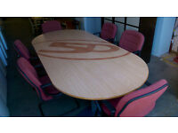 Large boardroom table with 6 chairs