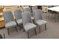 6x Huxley Chenille Dining Chair Dusk Grey Can Deliver