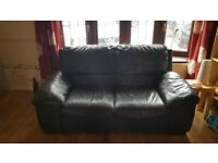 2 Two Seater Brown Leather Sofas in good condition