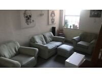 Pale Green 2 seater and 2x arm chair with pouffe