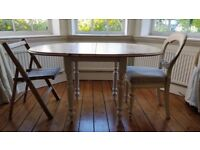 Country pine dining table with white legs