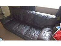 Dark Brown Leather 3 seater Sofa by DFS