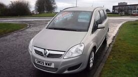 VAUXHALL ZAFIRA EXCLUSIV 2009,7 SEATS,ALLOYS,AIR CON,49,000mls,Very Clean,1.6 Very Economical
