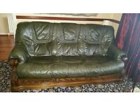 3-2-1 Green Leather Suite