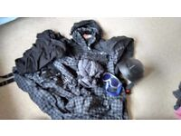 Skiwear Ski jacket, saloppettes, helmet and gloves. Hardly used Size large. Plus thermals and socks