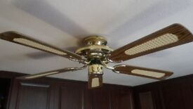 BEST QUALITY FANTASIA ANTIQUE BRASS CEILING FAN WITH WOOD BLADES