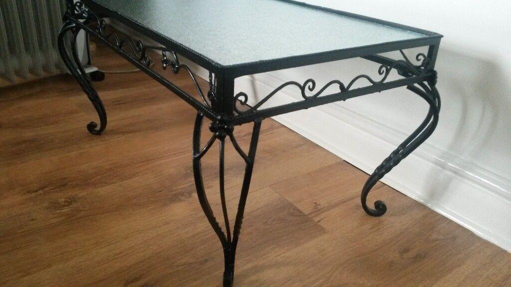 Glass and black metal coffee table!