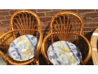 2 CANE CHAIRS WITH SEAT PADS
