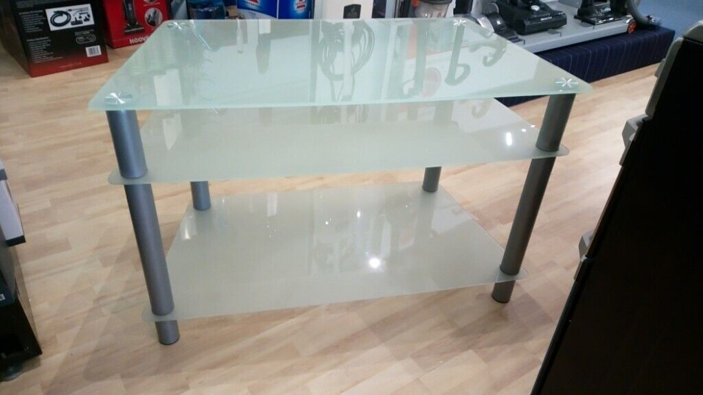 newest cb10a 49054 Frosted Glass TV Stand - 100cm Wide   in Portland, Dorset   Gumtree
