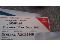 Coldplay one standing ticket for sale Cardiff 11 June 2017