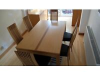 John E Coyle oak Dining Table and 6 Leather Chairs
