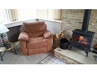 Tan, soft faux suede, rocking/ recliner. Harveys 'Bell Air' Chair.