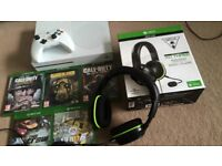 Xbox One S 500 GB with 5 Games, Play & Charge kit and Turtle Beach XO THREE Gaming Headset.