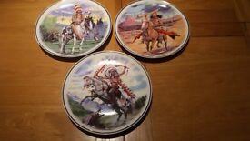 3 decorative Native American plates £10.00