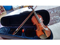 Primavera half sized violin, with case and bow