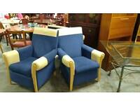 Blue and cream easy chairs