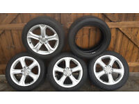 "Audi A4 A5 17"" Alloy Wheels Set of 4 With Premium Tyres and Good Tread. 5x112pcd"
