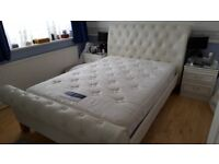 Genuine White leather Sleigh Bed