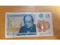 5 POUND BANKNOTE AA 01 SERIES