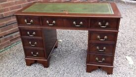 Flame Mahogany Antique Reproduction Leather Top Pedestal Writing Desk / Table