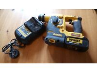 Lightly used Dewalt DCH253XR Li-ION 18v SDS cordless drill set, GWO. See photos & details