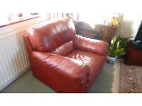 Red Leather Armchair. As new.